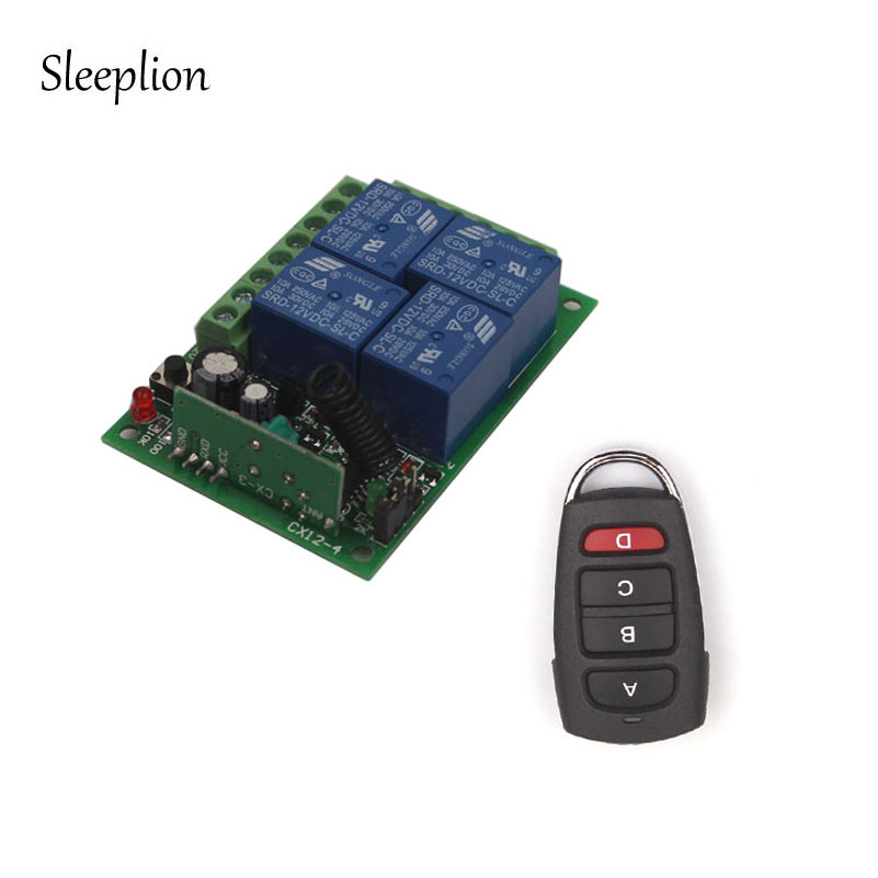 Sleeplion 12V Remote 4CH Channel RF Wireless Remote Control Relay Switch 2 Transceiver+Receiver for Door Lamp Light Gate Opener digital 12v 1 channel fixed code rf gate garage door 1 transmitter and 12 receiver remote control switch 4313