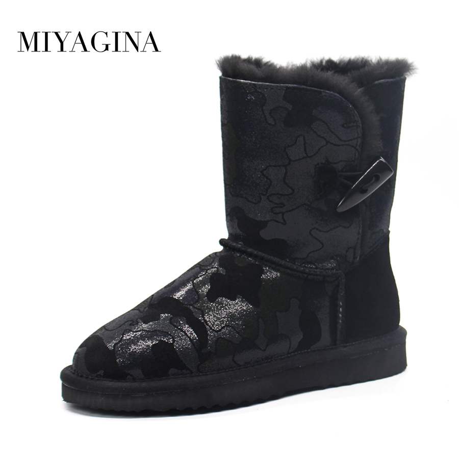 Top Quality New Fashion Genuine Cowhide Leather Snow Boots Natural Fur Botas Mujer Winter Waterproof Real Wool Boots For Women sexemara brand 2016 new collection winter boots for women snow boots genuine leather ankle boots top quality plush botas mujer