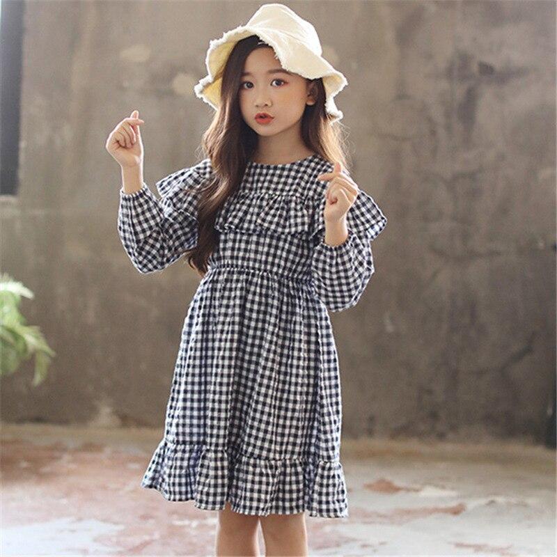 Kids Dress Long-Sleeve Big-Girl School Winter Ruffled Cotton And