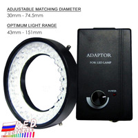 Camera Microscope Illuminator 48 White LED Bulbs Ring Light 74mm Mounting diameter 43mm 151mm Optimum Range