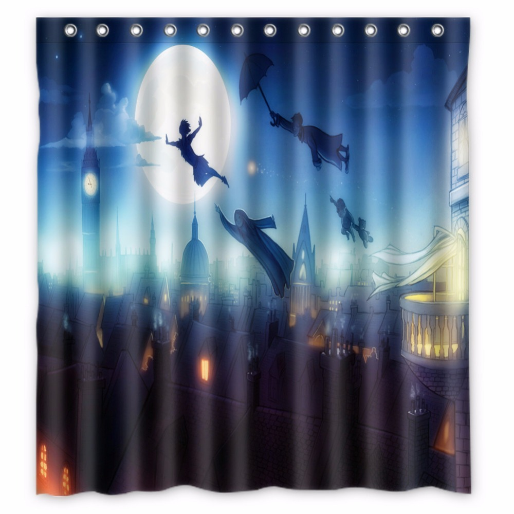 66 X72 Inch Peter Pan Shower Curtain Waterproof Fabric For Bathroom In Curtains From Home Garden On Aliexpress