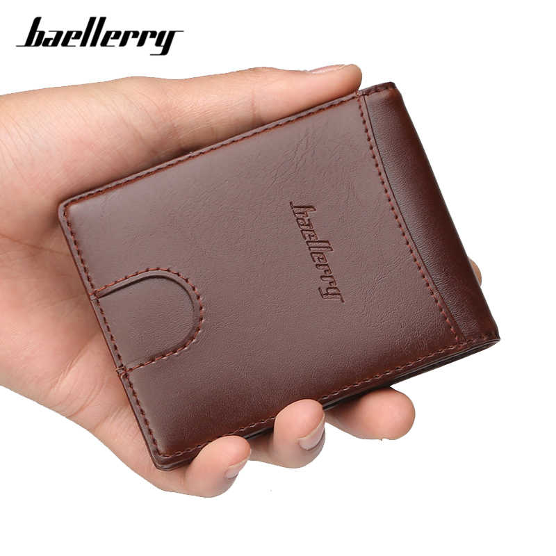 Baellerry Brand Designer Men Clip Wallet Card Slots Small Wallet Male Stainless Steel Money Clips Purse With Zipper Coin Pocket