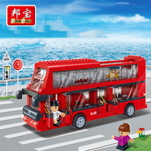 Model building kits compatible with lego double decker bus 3D blocks Educational model building toys hobbies