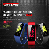 VERYFiTEK V10 Smart Wristbands Fitness Bracelet Color LCD Heart Rate Monitor Blood Pressure Watches Wristband Pedometer