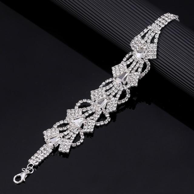 Volledige Crystal Rhinestone Vrouwen Armbanden Armbanden Link Chain Hollow Verklaring Armband Sieraden