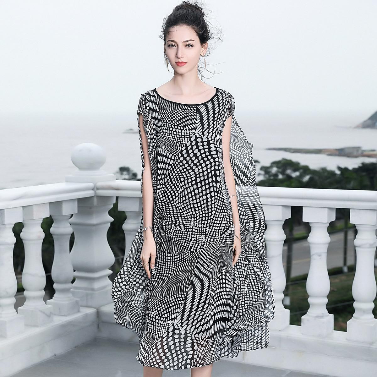 Шелковый dot оборками свободные пляжные Вечерние Длинное платье 2018 новый для подиума Женская летняя обувь платья высокое качество офис леди
