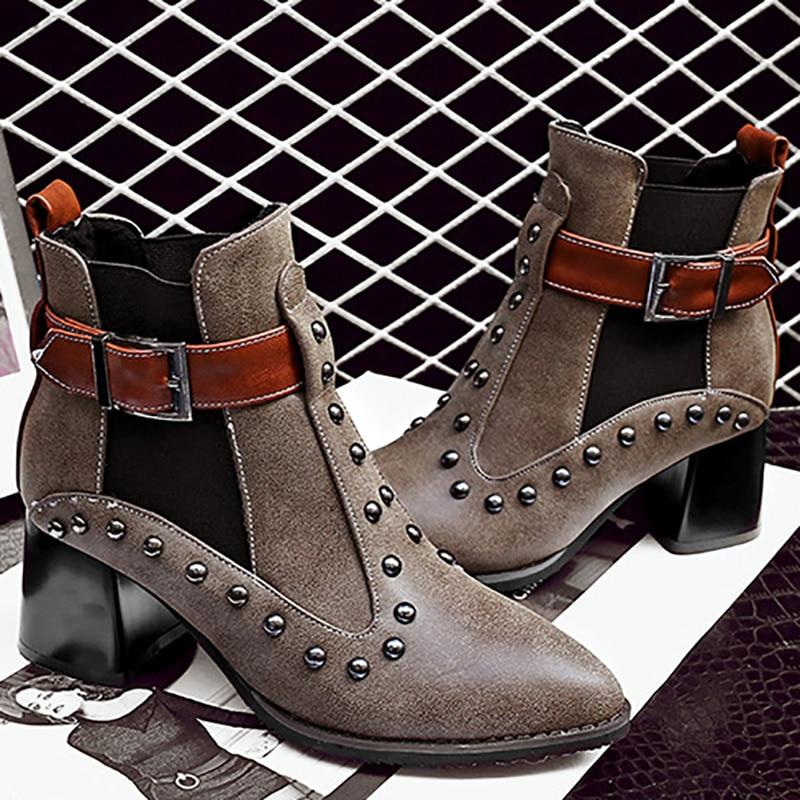 Mode coffee Cm De Rivets Black black coffee Bottes Talons Noir Femmes Heel Heel Boucle Haute Café Dames Plush Bloc Chaussures Cheville D'hiver Plush Chelsea 6cm 6 Punk Pkw8n0O