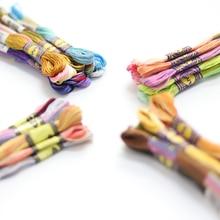 10 цветов в наборе, пестрые 6 нитей, 8 метров в мотке, различные цвета, хлопковая нить для вышивания, окрашенная нить для вышивания крестиком