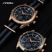 2017 SINOBI Military Spy Men Wrist Watches Chronograph Leather Watchband Top Luxury Brand Sports Male Geneva