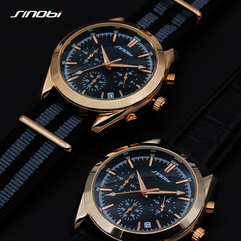 2017 SINOBI Military Spy Men Wrist Watches Chronograph leather watchband Top Luxury Brand Sports Male Geneva Quartz Clock 007 xinge top brand luxury leather strap military watches male sport clock business 2017 quartz men fashion wrist watches xg1080