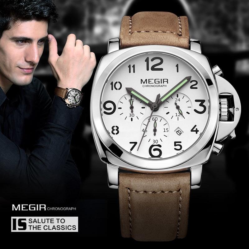 Megir Heren chronograaf lichtgevende quartz horloges met kalender datum ronde analoge militaire lederen band polshorloge man ML3406G