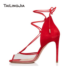2019 Large Size Sexy Red Heeled Ladies Stiletto PVC Summer Heels Peep Toe Lace Up Transparent Pumps Women High Heel Clear Shoes