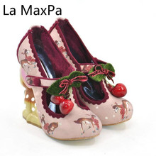Spring Summer Women Pumps Shoes Fashion Round Toe Cartoon Cute Shoes Strange Style Deer Heel Party High-heeled Shoes B2 cute girl buckle strap deer printing leather shoes irregular little deer heel shoes double cherries high heel shoes deer heel