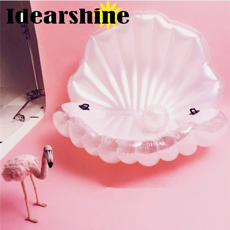 Environmentally Friendly PVC Inflatable Shell Water Floating Row Of a Variety of Swimming Pearl Shell Swimming Ring flamingo white swan inflatable swimming mounts on water floating bed floating row unicorn adult swimming ring