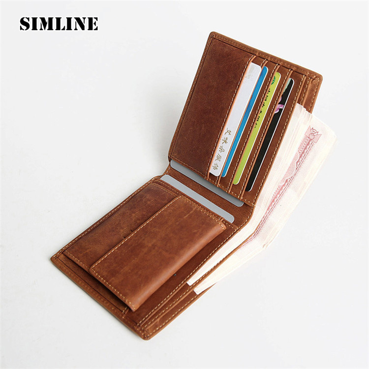 SIMLINE Vintage Casual Genuine Crazy Horse Cow Leather Cowhide Men Slim Wallet Wallets Purse Card Holder Coin Pocket Carteira crazy horse leather billfolds wallet card holder leather card case for men 8056r 1