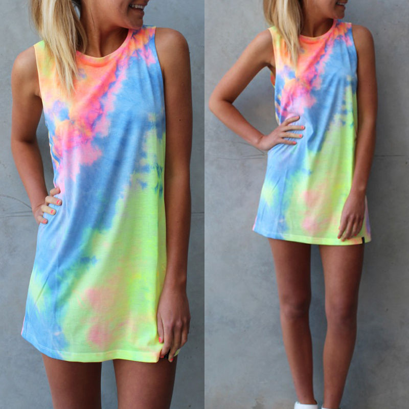 Fashion Women Summer Slip Loose Cotton Tops Blouses Colorful Sleeveless Club Party Evening Shirts Mini Sundress Clothes