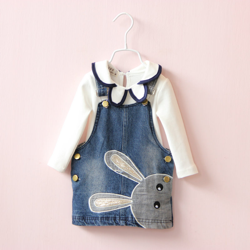 new fashion baby jean dress child clothing sets children clothes suits kids girls princess bunny denim dresses + girl blouse 2014small little girl homemade parent child clothes for mother child bugs bunny cartoon one piece dress baby sweatshirt