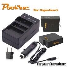 2x Ação Acessórios Da Câmera GoPro Hero 6 batteryies AHDBT-501 Set EUA/UE DUAL Carregador + Carregador de carro cabo para Go Pro Hero 5 hero6 câmera