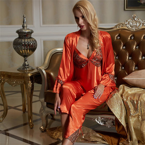 Image 1 - Xifenni Pajama Sets Female Faux Silk Sleepwear Women Sexy Satin SILK Pyjamas Three Piece Sexy Lace Home Clothing 1531