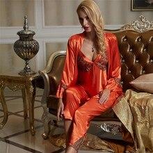 Xifenni conjuntos de pijama feminino faux silk sleepwear feminino sexy cetim de seda pijama de três peças sexy rendas casa roupas 1531