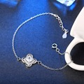 Authentic 100% Real 925 Sterling Silver Bracelet & Bangle with Four Clover Flower Linker, Bijoux Jewelry Gift For Women TF 786