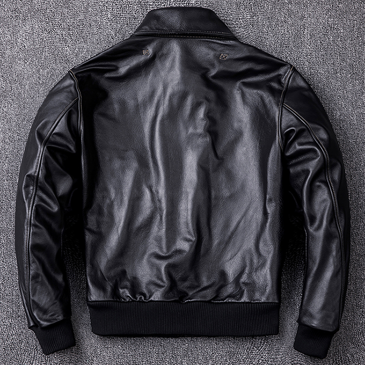 HTB1sjGiewHqK1RjSZFgq6y7JXXaO MAPLESTEED Men Leather Jacket Military Pilot Jackets Air Force Flight A2 Jacket Black Brown 100% Calf Skin Coat Autumn 4XL M154