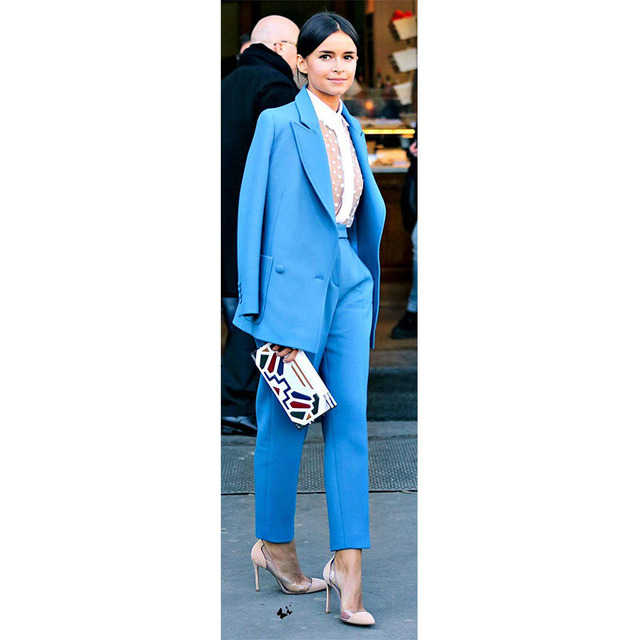 a5fbecb9615e NEW Blue lady trouser suit womens business suits female formal pant suits  for weddings formal office uniform work suits