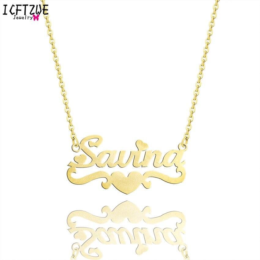 Oro palabra personalizada personalizado joyería de plata del corazón cinta identificación colgantes Rose Choker collar mujeres Kolye dama regalo