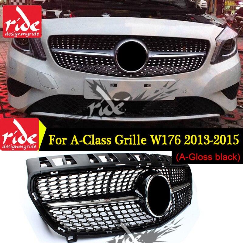 W176 diamant calandre noir brillant sans emblème Badge ABS remplacement 2013-15 A classe W176 A180 A250 A200 A45 calandre