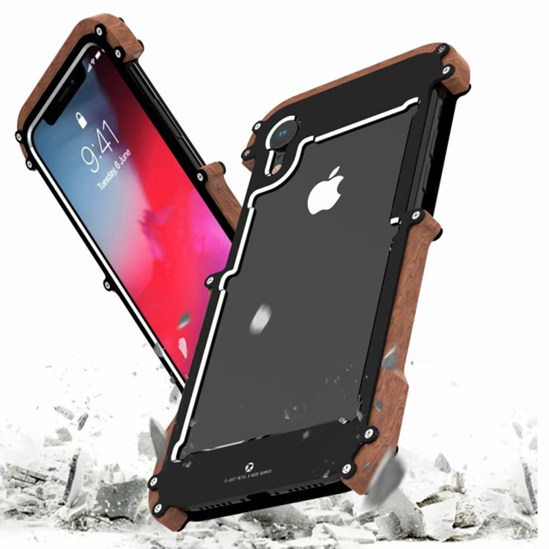 R JUST new shockproof armor wood grain aluminum alloy CNC metal side bumper frame protector for iPhone x shell wood frame