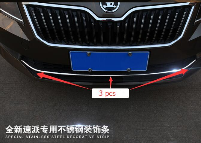 High quality 304 stainless steel middle of the net Trim For 2016-2017 Skoda Superb 3 pieces