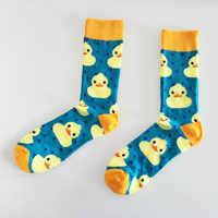De los hombres de algodón peinado tripulación calcetines de vestir informales animal de caricaturas divertidos pato patrón loco calcetines para montar en monopatín para regalos de boda
