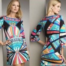 Party Dresses Special Offer Silk None Epucci New Arrival Geometry Print Fashion Normic Colorful Elastic Knitted Slim Dress