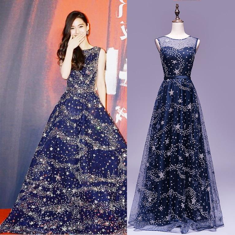 Vestido De Festa Popular Dark Navy Stars Printed Long Prom Dresses