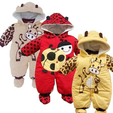 Winter Newborn Boys Girls Hat Jumpsuit Shoes Set Infant Cartoon Animal Thick Cotton Cow Beetle Rompers Clothes @ZJF