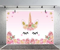 Laeacco Unicorn Party Flower Birthday Baby Newborn Photography Backgrounds Customized Photographic Backdrops For Photo Studio 2