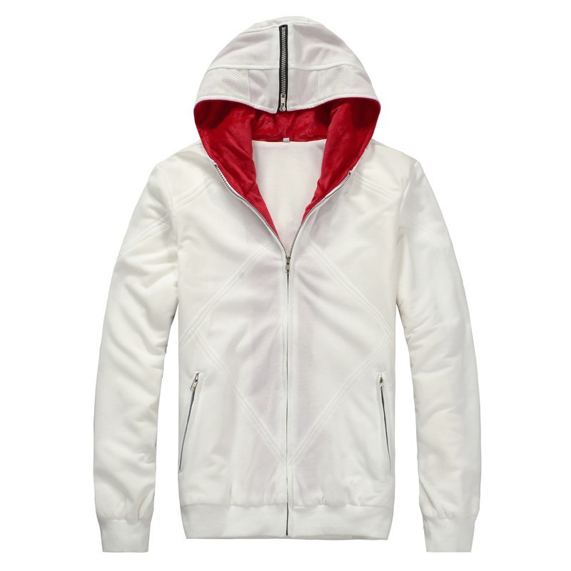 Ainiel Assassin's Creed 2 Desmond Miles Cosplay Costume White Black Hoodie Coat Sewing Eagle Logo Unisex Warm Hooded Jacket