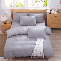 Sterling Silver Gray Home Textiles Bedding Products Aloe Vera Cotton Healthy Soft 4Pcs Quilt Cover Duvet