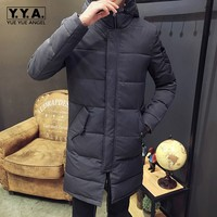 Korean Hooded Mens Parka Cotton Thicken Warm Winer Ovecoat Casual Slim Fit Outerwear Coats Army Green Fashion Jaqueta Masculino