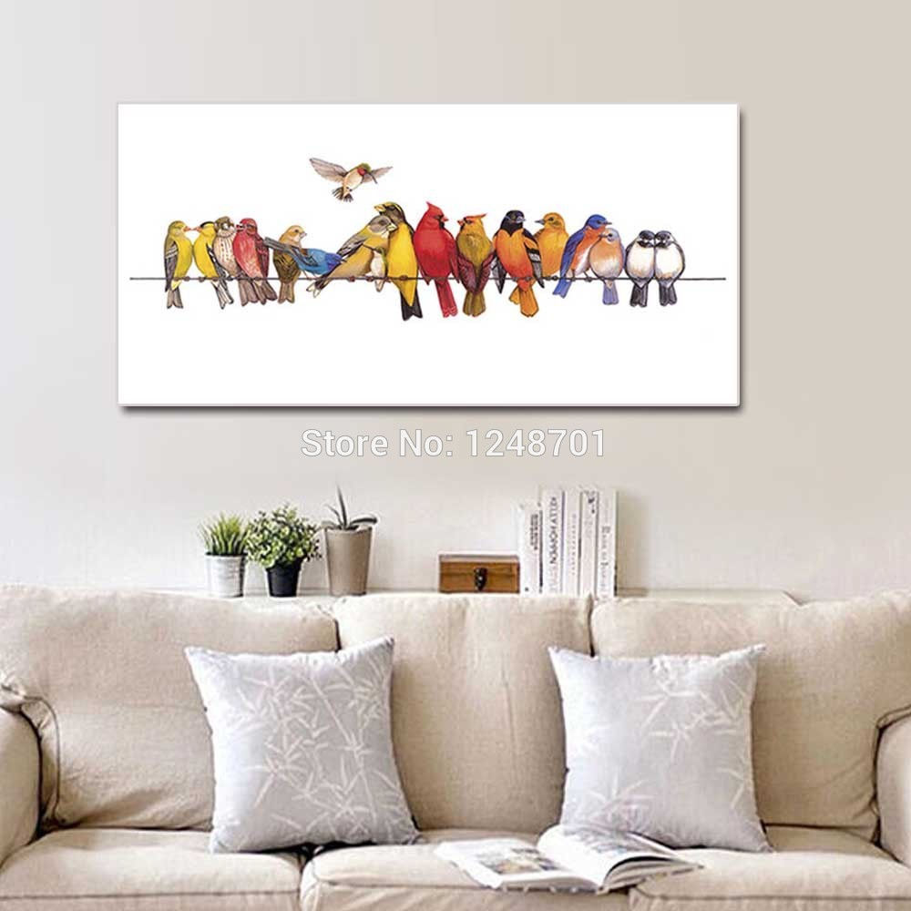 Hand Painted Modern Abstract Birds Animal Oil Painting On Canvas Animal Birds Wall Picture Living Room Bedroom Home Wall Decor in Painting Calligraphy from Home Garden