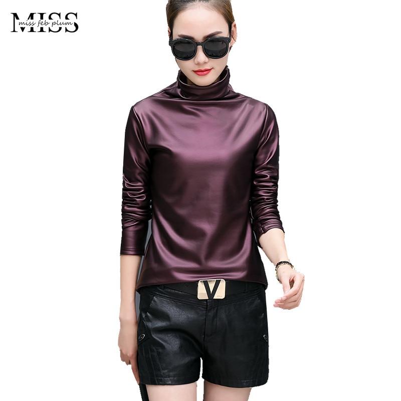 MISSFEBPLUM Fashion Womens Fall Plus Size T Shirt Long Sleeve Turtleneck Warm Velvet PU Leather T