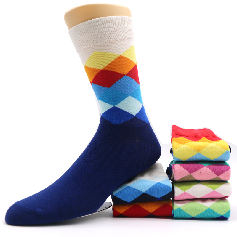 3Pairs Long Mens Socks Calcetines Rhombus Cross Plaid Prints Chaussette Men Business Dress Sock Meias Homens Male Long Socks
