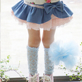 2015 New Autumn Children Denim Skirt With Bow  Girls Denim Lace Gauze Skirt Dark Blue Light Blue