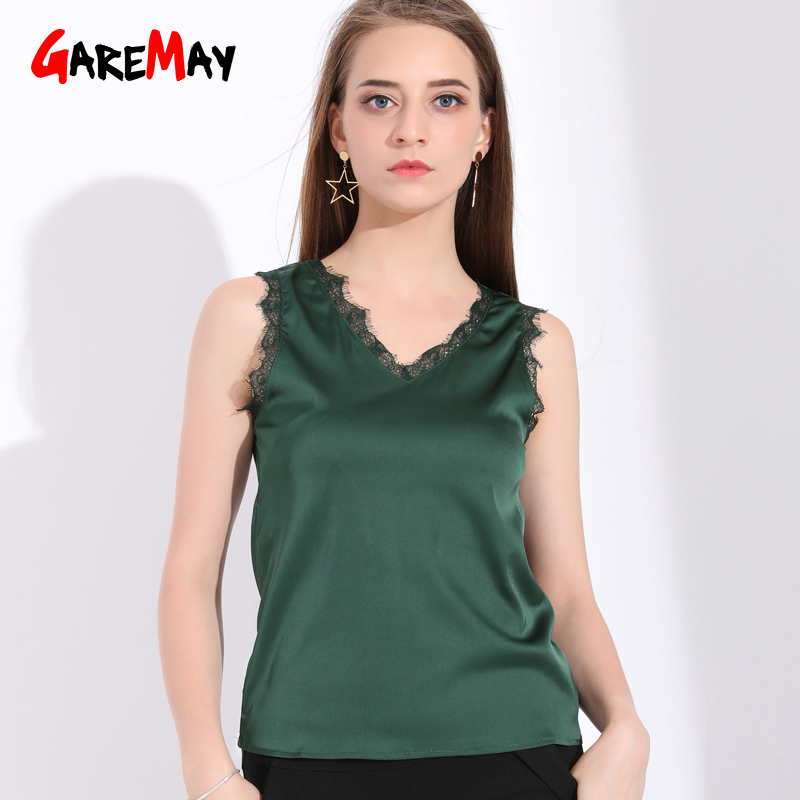 Garemay Women Silk Tank Top With Lace Stretch Chiffon V Neck Satin Top Femme Sleeveless Ladies Summer Tops For Women 2018 Autumn