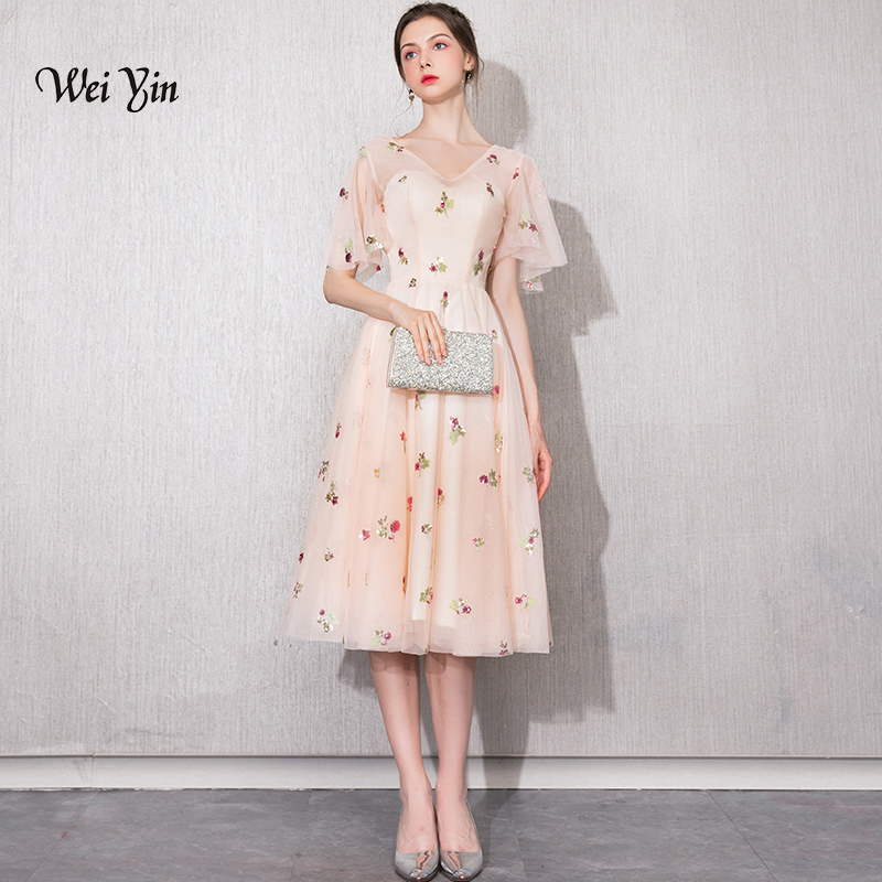 weiyin Lace Cocktail Dresses Champagne Elegant V-neck High Waist Tea Length Fashionable Affordable Party Dresses for Women WY914