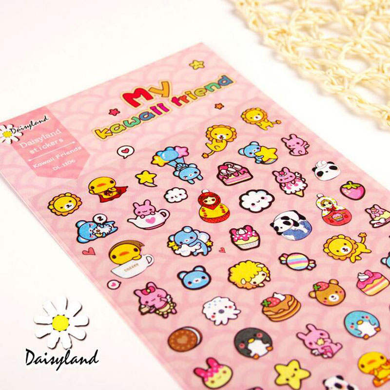 E05 1 Sheet My Kawaii Friends Decorative Adhesive Stickers DIY Scrapbooking Sticker Stick Label Decor Stationery Kids Gift auto accessories chameleon sticker 30m 1 52m functional car pvc red copper color stickers home decorative films stickers
