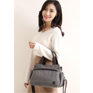 Image 5 - HOT! KVKY High Quality Canvas Bag Women Handbag Solid Zipper Design Casual Shoulder Bags for Female Crossbody Bag Messenger Bags