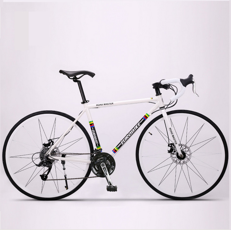 Nueva marca Retro 27 velocidad bicicleta de carreras 700C * 50 cm estructura De aleación de Aluminio Doble pedal de la bicicleta ciclismo disco freno de bicicleta de carretera