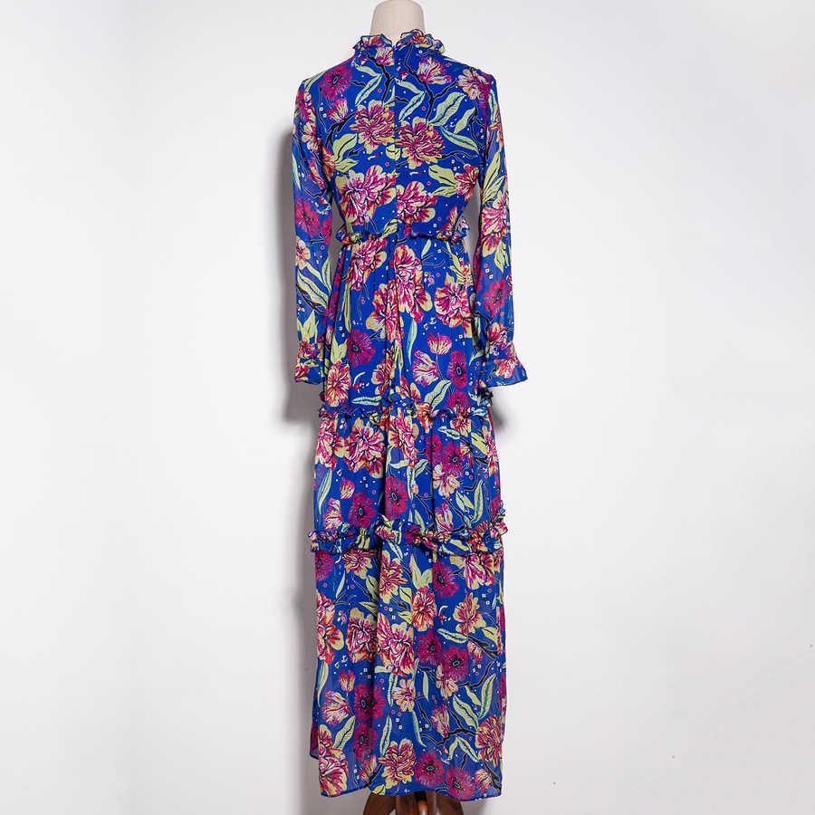 SEQINYY rétro robe 2018 début Autmn mode XXL bohème drapée manches longues imprimé fleurs bleu mousseline de soie élégante robe de plage
