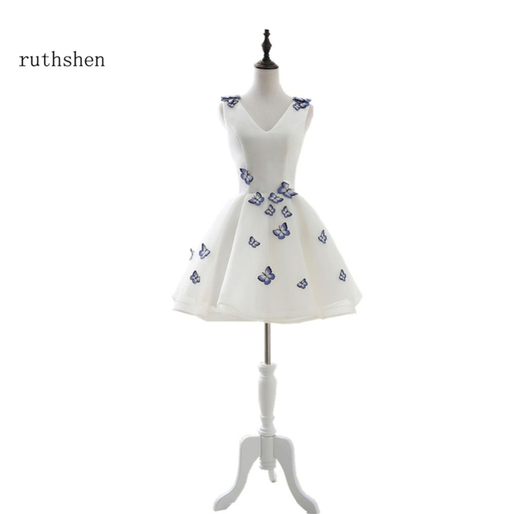 ruthshen 100% Real Photo Short   Cocktail   Party   Dresses   V-Neck With Blue Butterfly Vestidos Curtos Cheap Prom   Dresses   Short 2018
